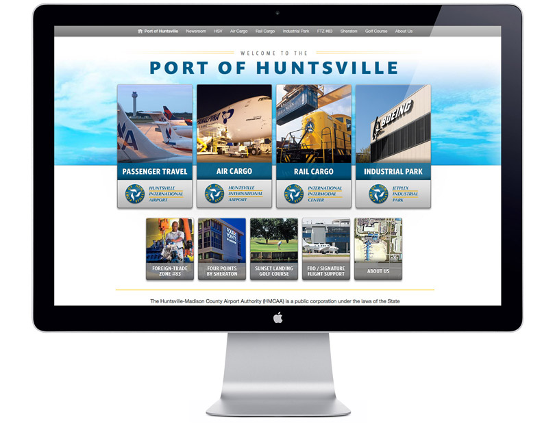 FlyHuntsville.com website portal page