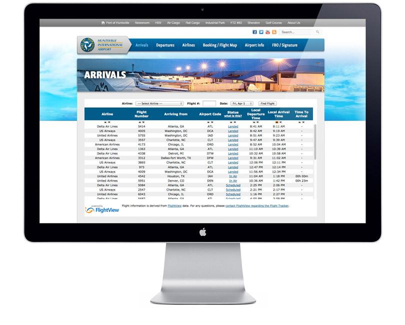 FlyHuntsville.com website arrivals page